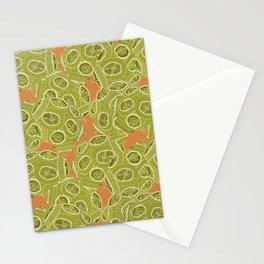 olive orange algae Stationery Cards