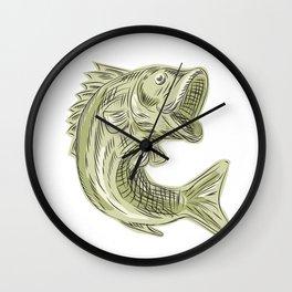 Largemouth Bass Fish Etching Wall Clock