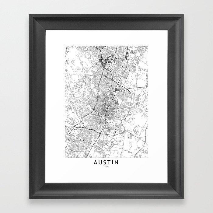 Austin White Map Gerahmter Kunstdruck
