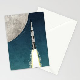 Apollo Rocket Launch to the Moon Stationery Cards