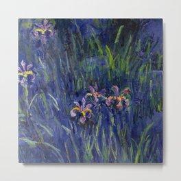 Irises No. 2 still life painting by Claude Monet Metal Print