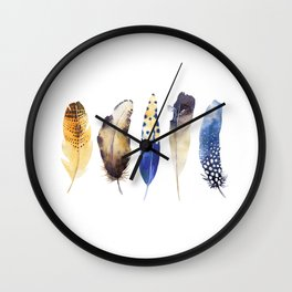 Colorful Magical Mystical Feathers Watercolor Painting Nature Patterns White Background Wall Clock