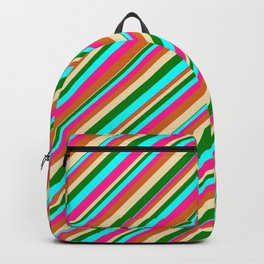 Eye-catching Tan, Green, Cyan, Deep Pink, and Chocolate Colored Pattern of Stripes Backpack