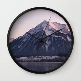 Panorama mountain scenery thun winter Wall Clock