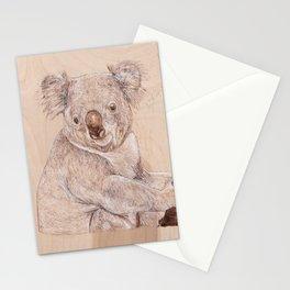 Koala Bear - Drawing by Burning on Wood - Pyrography Art Stationery Cards