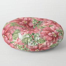 Poinsettia Flowers, Christmas, Floral Prints Floor Pillow