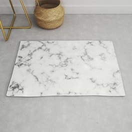 Soft White Marble With Smoky Silver Veins Rug