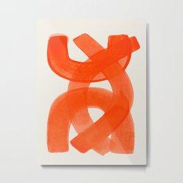 Mid Century Modern Abstract Painting Orange Watercolor Brush Strokes Metal Print