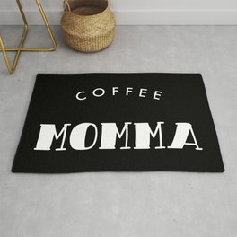 Coffee Momma White Typography Rug