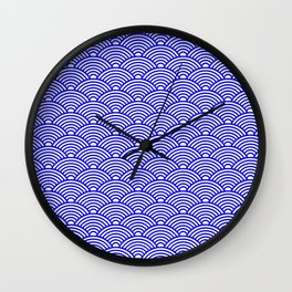 Japanese Waves (Blue & White Pattern) Wall Clock