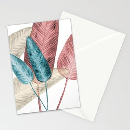 Watercolor banana leaves Stationery Cards