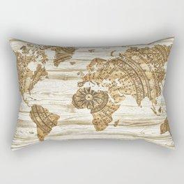 World map of wood Rectangular Pillow