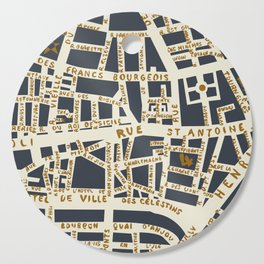PARIS MAP GREY GOLD Cutting Board