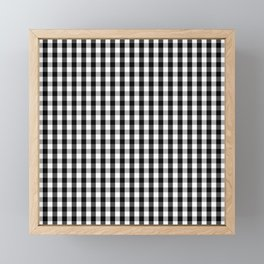 Classic Black & White Gingham Check Pattern Framed Mini Art Print