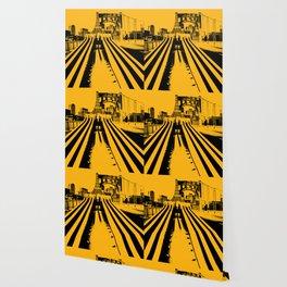 Pittsburgh City Skyline Bridge Pop Art Black Gold Print Wallpaper