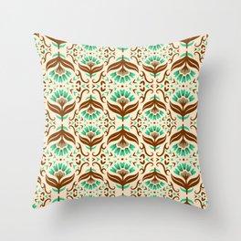 Art Deco Fall Flowers Throw Pillow