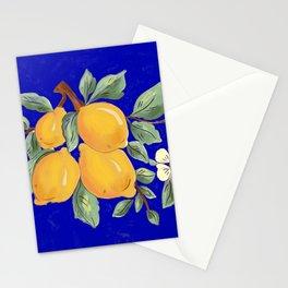 Sicilian blue pattern.Citrus,exotic art. Stationery Cards