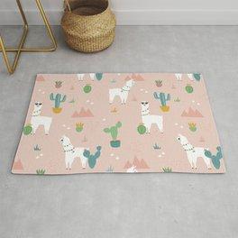 Summer Llamas on Pink Rug