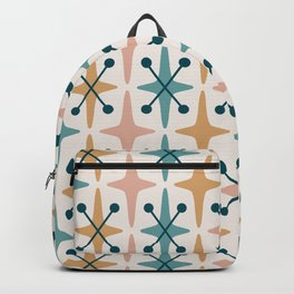 Mid Century Modern Abstract Star Pattern 221 Turquoise Ochre Dusty Rose and Teal Backpack