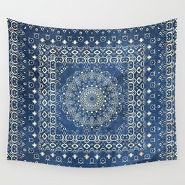 Old Bookshop Magic Mandala in Blue Wall Tapestry