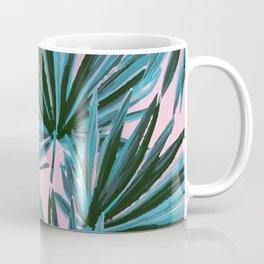 Tropical Palm Leaves in Botanical Green + Pink Coffee Mug