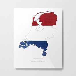 Netherlands Flag and Country Silhouette, Netherlands Coordinates Art Print Metal Print