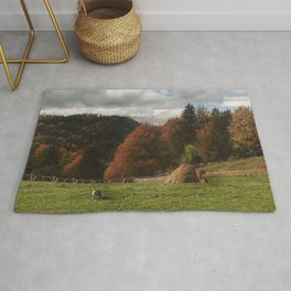 Autumn With Mountain Fox And Haystack Rug