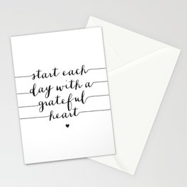 Start Each Day With a Grateful Heart black and white monochrome typography poster design Stationery Cards