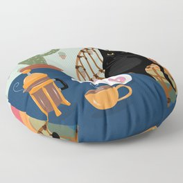 Coffee and Donuts Cat Floor Pillow