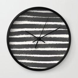 Black and white brush art Wall Clock
