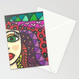 Color Zentangle Girl Stationery Cards
