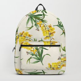 Yellow Cheiranthus Flower Vintage Illustration Backpack