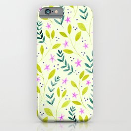 Delicate Floral Pattern | Green and Pink iPhone Case