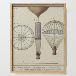 A watercolor drawing proposed Design for Balloon Utilizin Sails for Propulsion Paris (1783) by and u Serving Tray
