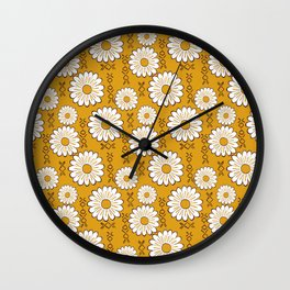 Harry Sunflower Shirt Flower Print Hippie Pop Art Floral Pattern Wall Clock