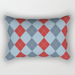 Blue and Red Argyle Diamond Plaid Print Rectangular Pillow