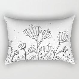 Black Doodle Flowers Art Illustration Rectangular Pillow