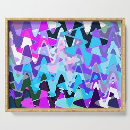 Electric waves, technological abstraction in rich colors, music waves in violet Serving Tray