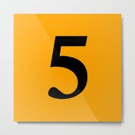 5 (BLACK & ORANGE NUMBERS) Metal Print