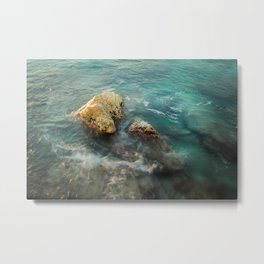 Steady as a rock- ocean photography- turquoise and blue water Metal Print