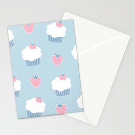 Cute cartoon cupcakes and strawberries pattern Stationery Cards