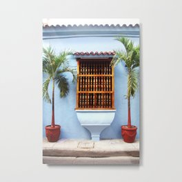 Blue townhouse with palmtrees | Cartagena Colombia | Caribbean Metal Print
