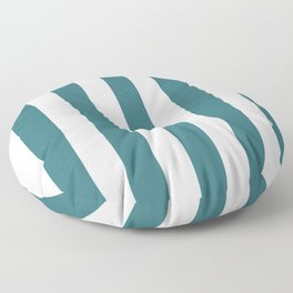 Ming blue - solid color - white vertical lines pattern Floor Pillow