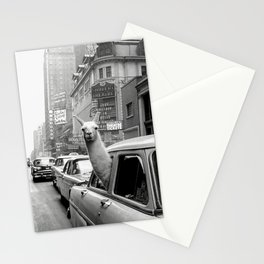Llama Riding in Taxi, Black and White Vintage Print Stationery Cards