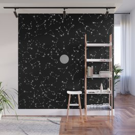 Full Moon and Star Constellations Silver in Black Wall Mural