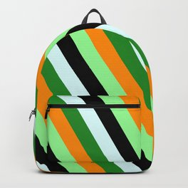 Colorful Dark Orange, Green, Black, Light Cyan, and Forest Green Colored Lined Pattern Backpack