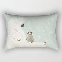 penguin and bear Rectangular Pillow