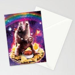 Space Cat Llama Sloth Riding Nachos Stationery Cards
