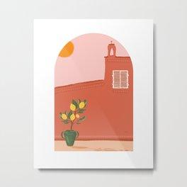 Pink Landscape / coast house / desert / lemon tree / moroccan view Metal Print