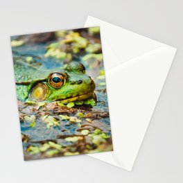 Happy Green Frog, Chilling In The Muck. Photograph Stationery Cards